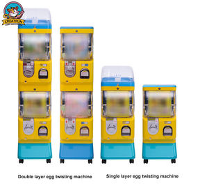 Yellow Bubble Gum Machine , Spiral Gumball Machine With Double Layer